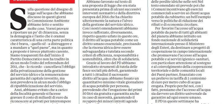 """Acqua, Braga: """"La verità su quel disegno di legge"""" – l'Unità"""