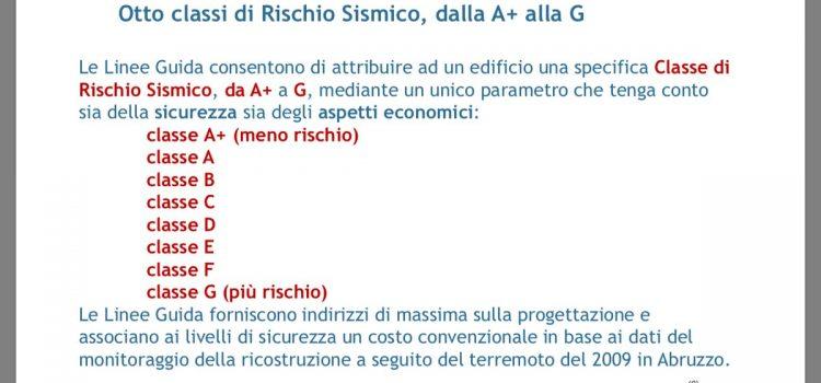 RISCHIO SISMICO, al via la classificazione del rischio sismico delle costruzioni