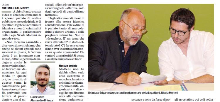 "'NDRANGHETA a Cantù, ""Parabullismo mafioso""(!!!)"