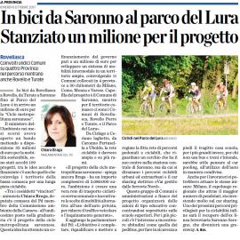 """MOBILITA' SOSTENIBILE: """"1 milione di euro al progetto Ciclo Metropolitana Saronnese che coinvolge 11 comuni tra cui anche Rovellasca, Rovello Porro, Turate e Parco del Lura. Un ottimo risultato"""""""