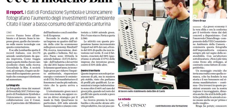 GREEN ECONOMY fattore di sviluppo, a COMO le imprese green sono 3.830