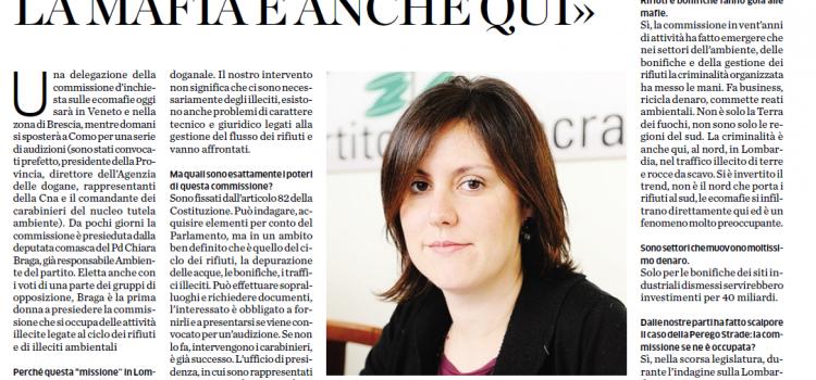 L'INTERVISTA CHIARA BRAGA, deputata del PD guida la Commissione d'inchiesta sulle Ecomafie, che domani sarà a Como