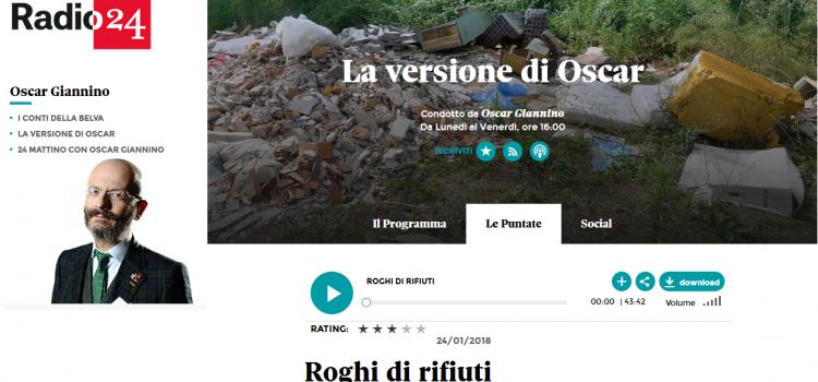 """Intervista a Radio24 alla trasmissione di Oscar Giannino, """"La versione di Oscar"""""""
