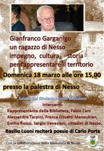 Ricordo di GIANFRANCO GARGANIGO | ore 15.00 | Palestra di NESSO @ Palestra di Nesso | Lombardia | Italia