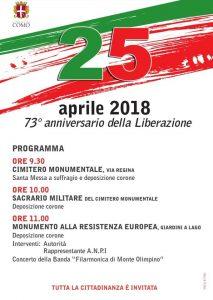 25 aprile, Festa della Liberazione @ Monumento alla Resistenza Europea, Giardini a lago, Como | Como | Lombardia | Italia