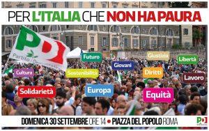 30 SETTEMBRE, Manifestazione nazionale a Roma, per l'Italia che non ha paura | ore 14.00 | Piazza del Popolo | ROMA @ Roma | Lazio | Italia