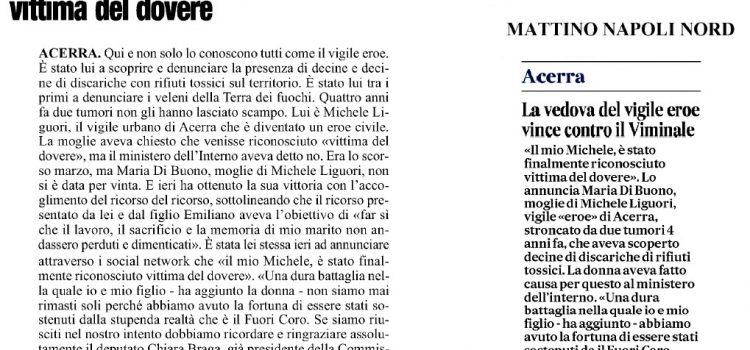 """TERRA DEI FUOCHI, Michele Liguori rinosciuto """"vittima del dovere"""""""