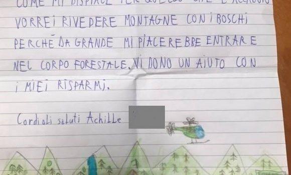 MALTEMPO, Achille 9 anni dona i suoi risparmi per salvare le montagne