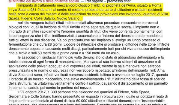 RIFIUTI, INCENDIO IMPIANTO SALARIO ROMA, situazione nota da tempo