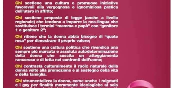 """8 MARZO: """"Con queste queste parole si offende la dignità delle donne insieme a quella di un popolo intero"""""""
