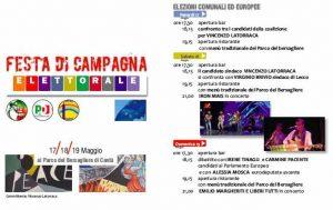 Festa di Campagna Elettorale: 17-18-19 maggio 2019 | Parco del Bersagliere | CANTU' @ Parco del Bersagliere, Cantù | Cantù | Lombardia | Italia