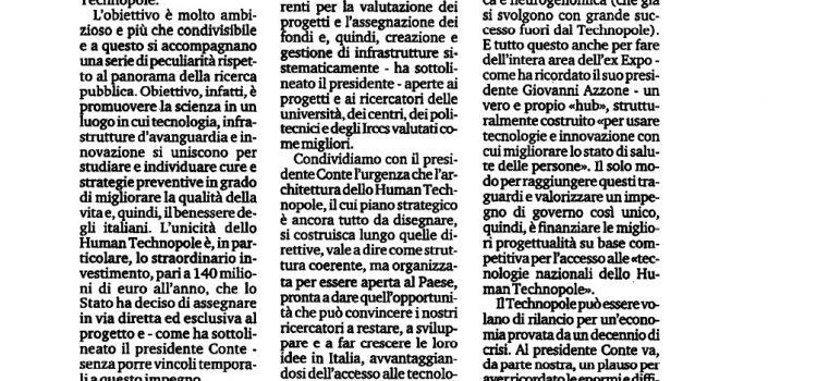 """HUMAN TECHNOPOLE: """"Laboratorio per l'Italia"""""""