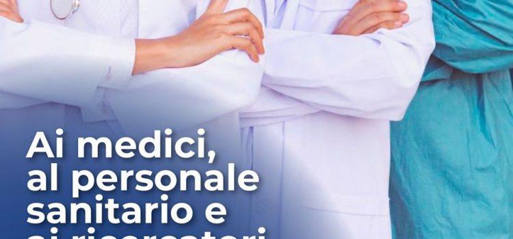 """CORONAVIRUS: """"A medici, infermieri, operatori sanitari e ricercatori, il nostro grazie"""""""