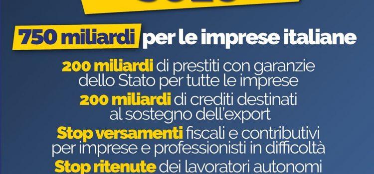 """COVID-19, DL LIQUIDITA': """"Governo libera 750 miliardi di euro per le imprese italiane"""""""