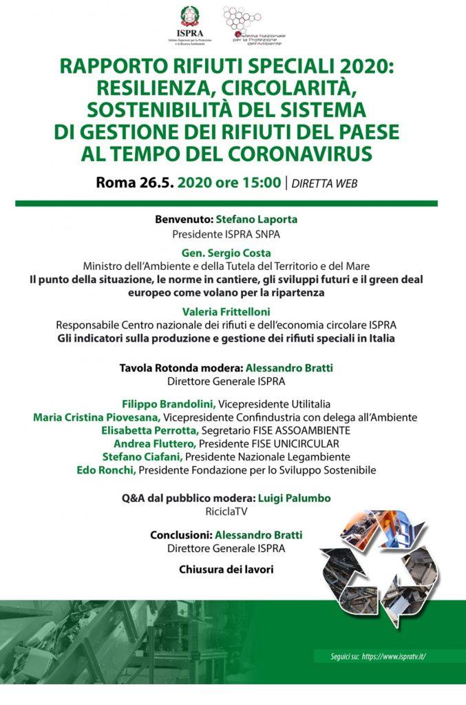 ISPRA, presentazione Rapporto Rifiuti speciali 2020 | ore 15.00 | Diretta streaming su https://www.ispratv.it/
