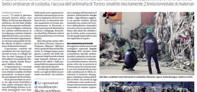 """ECOMAFIE: """"Traffico e smaltimento illeciti di rifiuti toccano anche Como"""""""