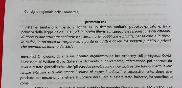 """SANITA' LOMBARDA: """"Sì a mozione PD su trasparenza fondi sanità privata. Sfiducia (di fatto) a Gallera"""""""