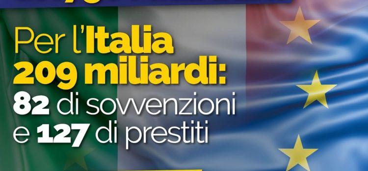 """RECOVERY FUND: """"L'accordo c'è. Svolta storica per l'Europa. All'Italia 209 miliardi"""""""