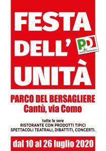FESTA DELL'UNITA' CANTU - dal 10 al 26 luglio 2020 | Parco del Bersagliere, via Como | CANTU'