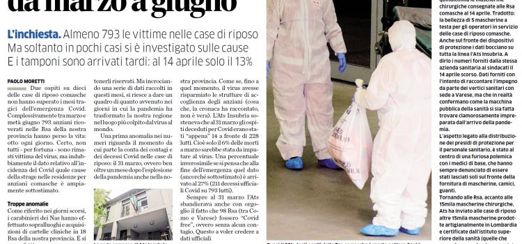 """COVID19-RSA COMASCHE: """"Almeno 793 vittime, 8 morti al giorno tra marzo e giugno. E Ats Insubria tace"""""""
