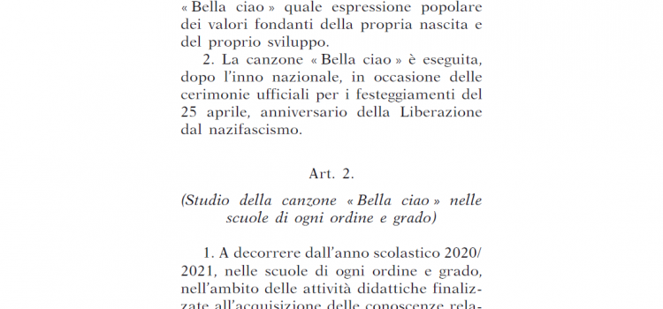 """""""BELLA CIAO"""", espressione popolare dei valori democratici della Repubblica"""""""