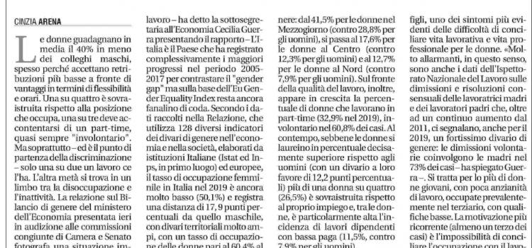 """DONNE E LAVORO: """"Ancora ostagge del gender gap"""""""