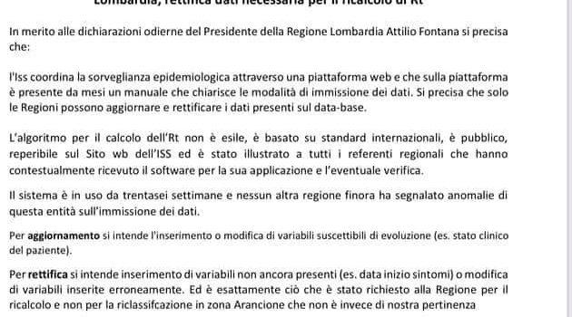SANITA' LOMBARDA, L'ISTITUTO SUPERIORE DI SANITA' MOSTRA L'ERRORE DI REGIONE LOMBARDIA
