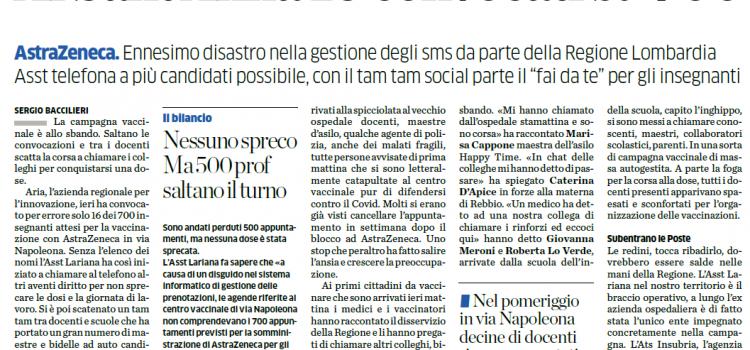 """VACCINAZIONI ANTI-COVID: """"In provincia di Como, su 700 dosi di vaccino disponibili, avvisati solo 16  utenti"""""""