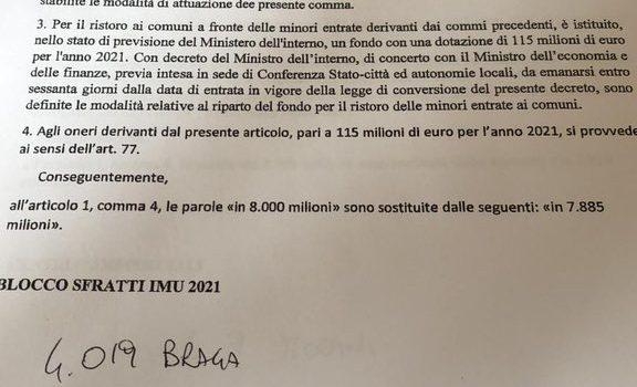 """DL SOSTEGNI BIS: """"Stop Imu 2021 ai proprietari con blocco sfratti"""""""