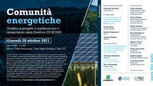 "ECOMONDO, Fiera Keyenergy ""COMUNITA' ENERGETICHE"" | ore 14.30-17.00 | Sala Agorà Energy 2, Pad. D7 | RIMINI"